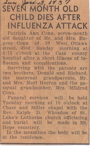 Patricia Ann Conn's obituary, dated January 3, 1937.